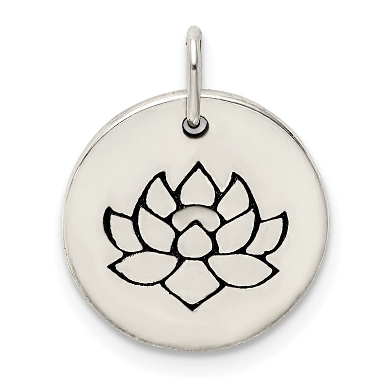Quality Gold Sterling Silver Antiqued Flower Pendant
