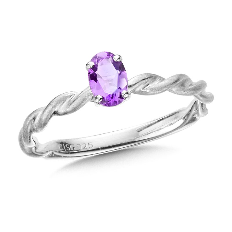 Colore SG Sterling Silver Amethyst Stacking Ring