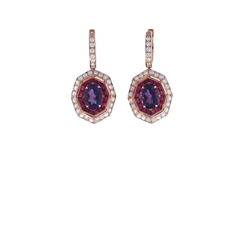 18Kt Gold Earrings With Diamonds, Amethyst And Pink Sapphires