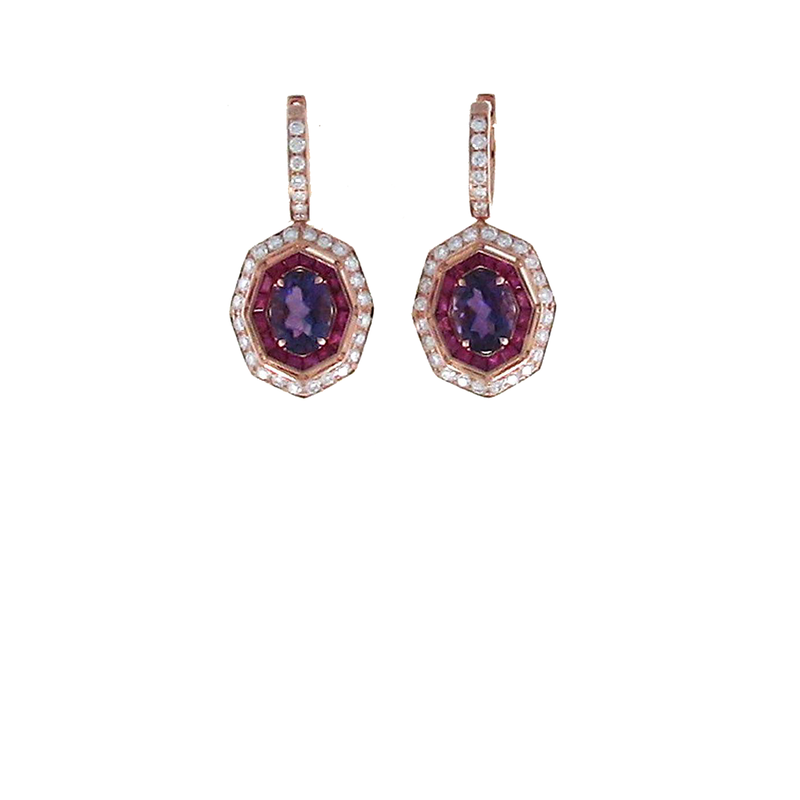 Roberto Coin 18Kt Gold Earrings With Diamonds, Amethyst And Pink Sapphires