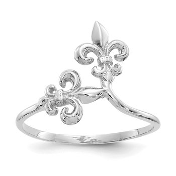 14k White Gold Polished Fleur De Lis Ring