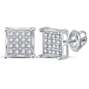 10kt White Gold Womens Round Diamond Square Cluster Earrings 1/10 Cttw