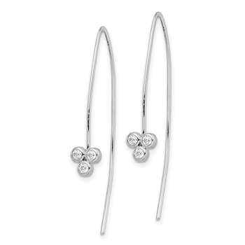 Sterling Silver Rhodium-plated 3-CZ Threader Earrings