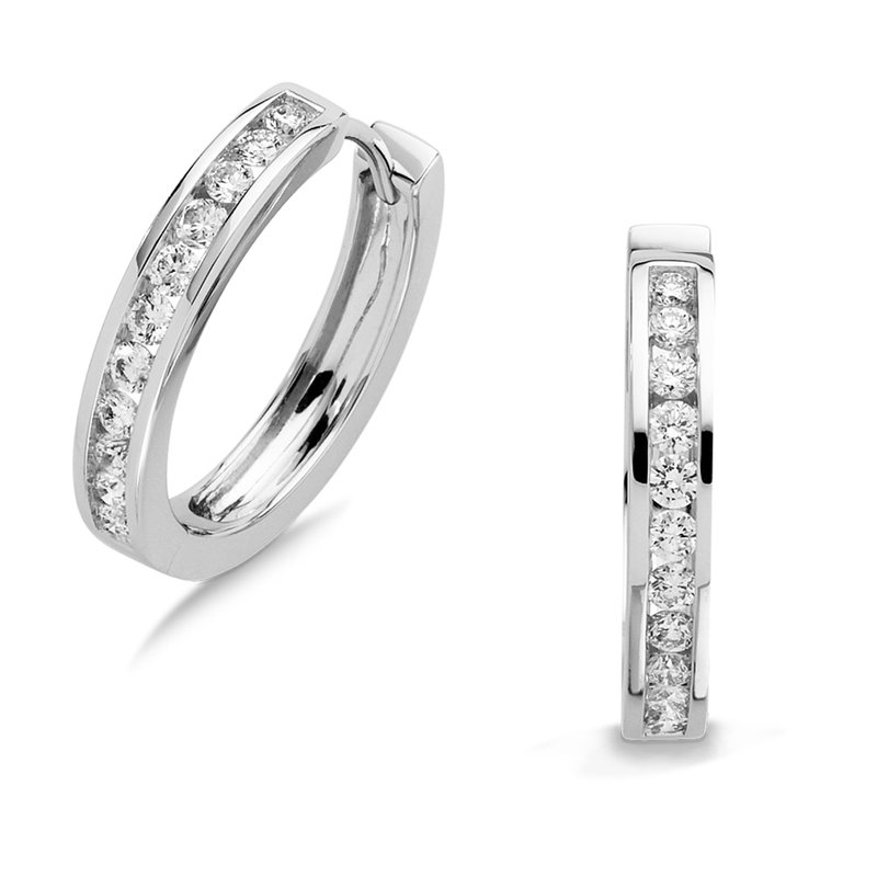 SDC Creations Channel set Diamond Hoops in 14k White Gold (3/4 ct. tw.) HI/SI2-SI3