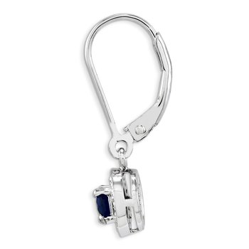 Sterling Silver Rhodium-plated Diam. & Created Sapphire Earrings