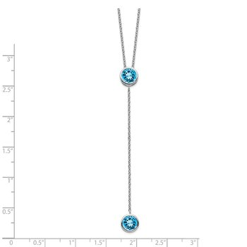 Sterling Silver Rhodium-plated Blue Topaz w/ 2in ext. Y-Necklace