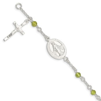 Sterling Silver & Peridot Polished Children's Rosary Bracelet