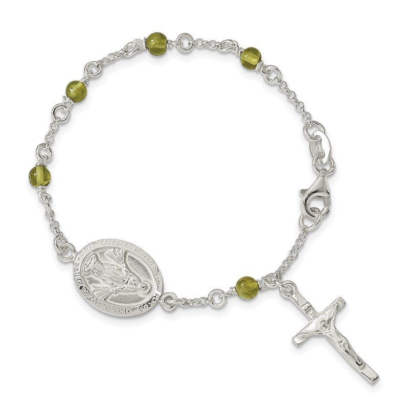 Quality Gold Sterling Silver & Peridot Polished Children's Rosary Bracelet
