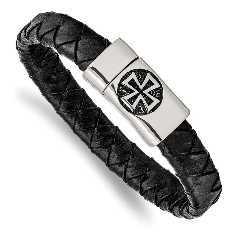 Chisel Stainless Steel Antiqued and Polished Cross Black Leather 8.5in Bracelet