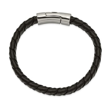Stainless Steel Antiqued and Polished Cross Black Leather 8.5in Bracelet