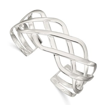 Sterling Silver Woven Design Cuff Bangle