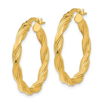 Leslie's 14K Polished Textured Twisted Hoop Earrings