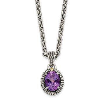 Sterling Silver w/14ky Amethyst Oval Necklace
