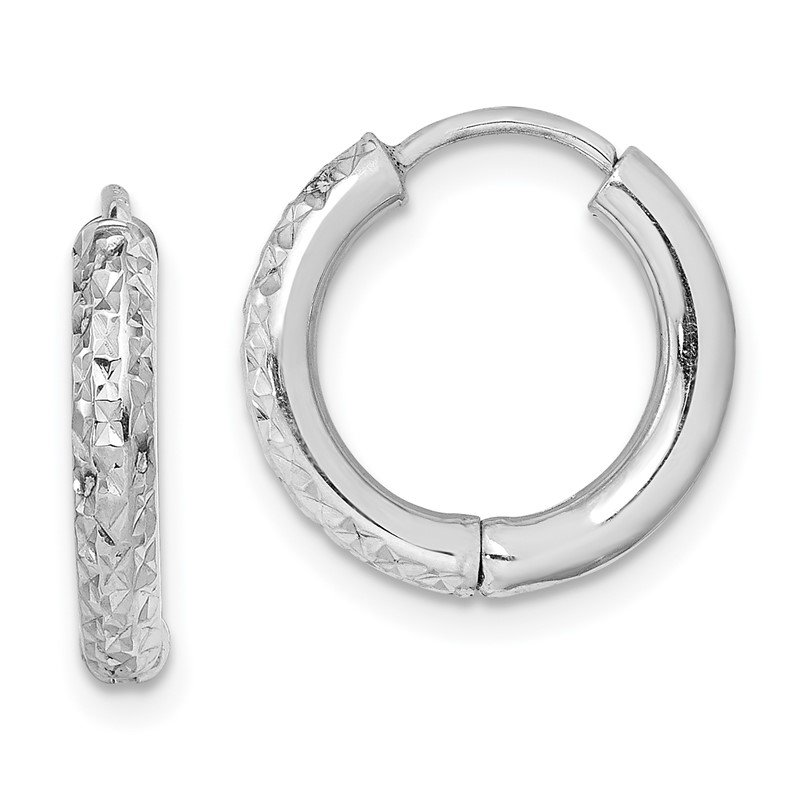 Quality Gold Sterling Silver Rhodium Polished Diamond Cut Hinged Hoop Earrings