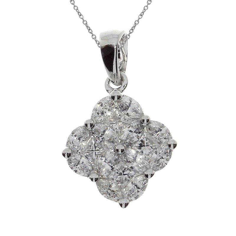Color Merchants 14K White Gold Clover Cluster Diamond Pendant