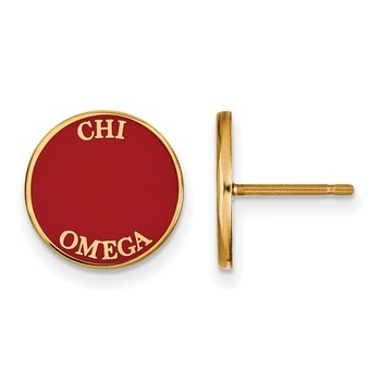 Gold-Plated Sterling Silver Chi Omega Greek Life Earrings
