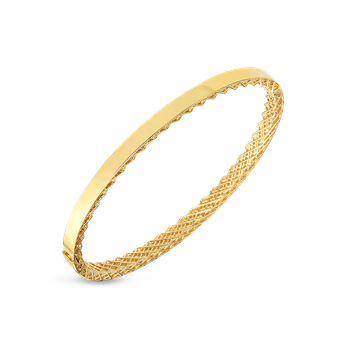 18KT GOLD SYMPHONY GOLDEN GATE OVAL BANGLE