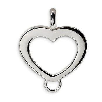 Sterling Silver Amore La Vita Rh-pl Polished Heart Charm Carrier Pendant