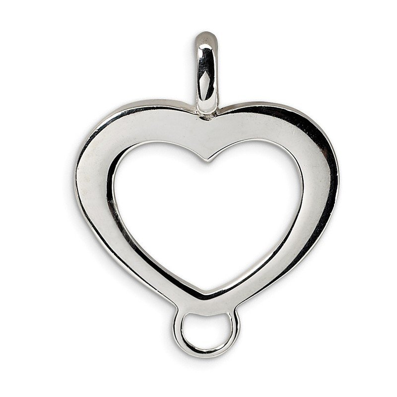 Quality Gold Sterling Silver Heart Shaped Charm Carrier Pendant