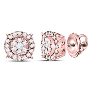 14kt Rose Gold Womens Round Diamond Circle Cluster Earrings 1/4 Cttw