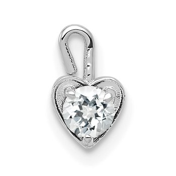 14k White Gold April Synthetic Birthstone Heart Charm