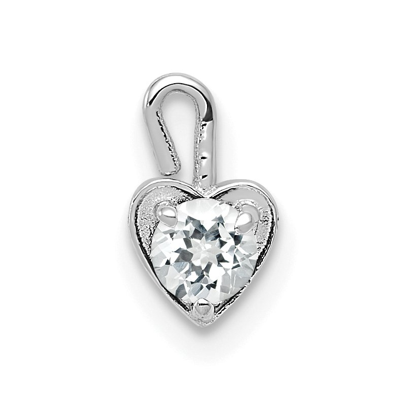Quality Gold 14k White Gold April Synthetic Birthstone Heart Charm