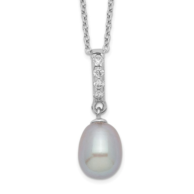 Fine Jewelry by JBD Sterling Silver Rhod-plat 8-9mm Grey FWC Pearl CZ Necklace
