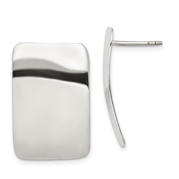 Sterling Silver Polished Plain Rectangle Post Earrings
