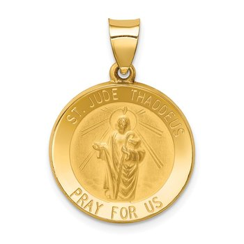 14k Polished and Satin St Jude Thaddeus Medal Hollow Pendant