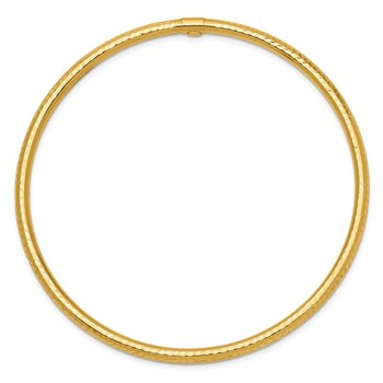 14k 3mm Diamond-cut Tube Slip-on Bangle
