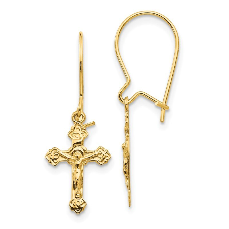 Quality Gold 14k Polished Crucifix Earrings