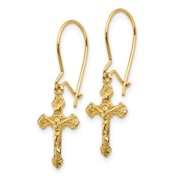 14k Polished Crucifix Earrings