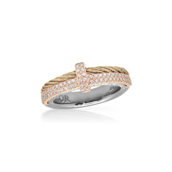 Carnation Cable Petite Opulence Ring with 18kt Rose Gold & Diamonds