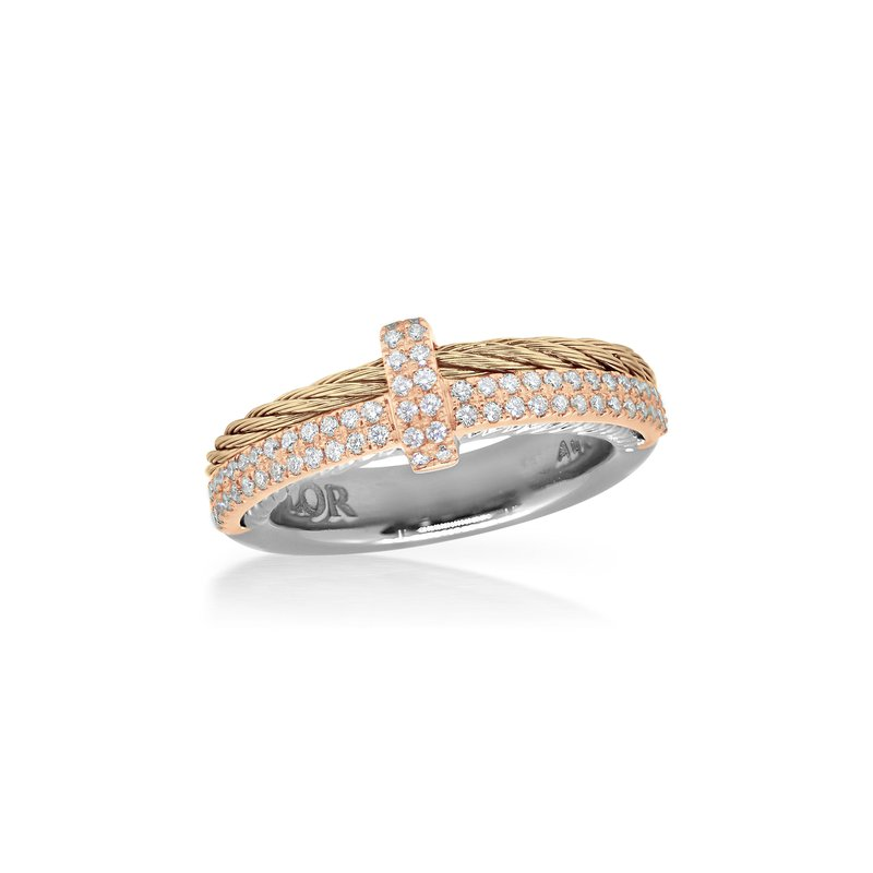 ALOR Carnation Cable Petite Opulence Ring with 18kt Rose Gold & Diamonds