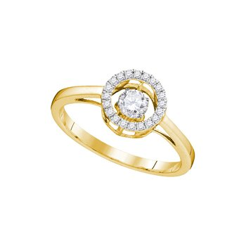 10kt Yellow Gold Womens Round Diamond Moving Twinkle Solitaire Bridal Wedding Engagement Ring 1/5 Cttw