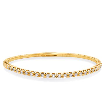 Yellow Gold Flexable Bangle Bracelet