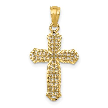 14k Diamond-cut Polished Filigree Cross Pendant