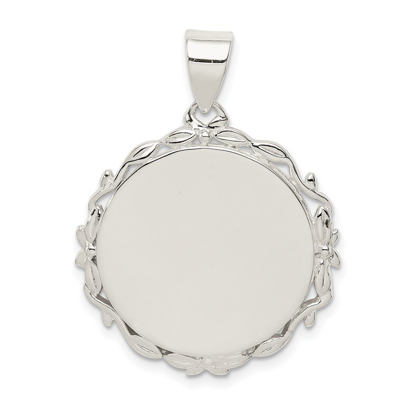 Quality Gold Sterling Silver Fancy Round Pendant