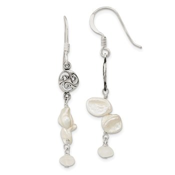 Sterling Silver FWC Keshi Pearl and Moonstone Fancy Dangle Earrings