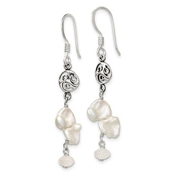 Sterling Silver FWC Keshi Pearl/Moonstone Fancy Shep. Hook Earrings