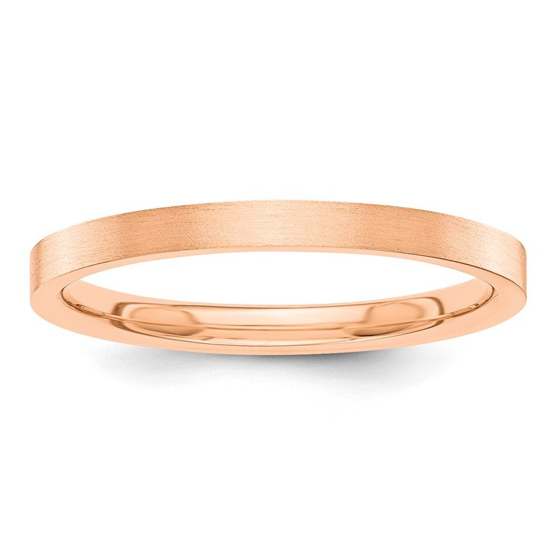 Quality Gold 14k Rose-Gold 2mm Flat Satin Band