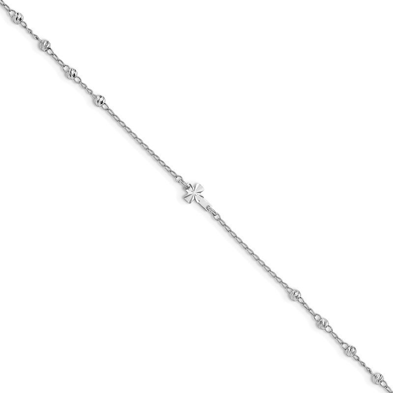 Quality Gold Sterling Silver Rhodium-plated D/C Beads 9in Plus 1in Ext. Cross Anklet