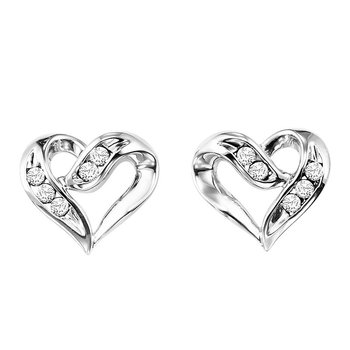 Silver Diamond Heart Earring