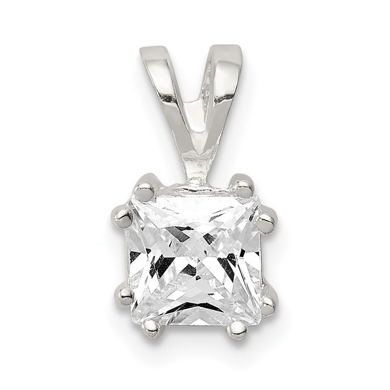 Quality Gold Sterling Silver Princess CZ Pendant
