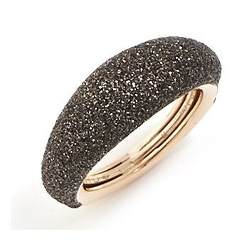 Thin Bombe Polvere Di Sogni Ring - Dark Brown Polvere & Rose Gold