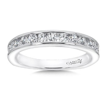 Channel Set Diamond Wedding Band in 14K White Gold