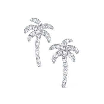 Diamond Palm Tree Earrings Set in 14 Kt. Gold