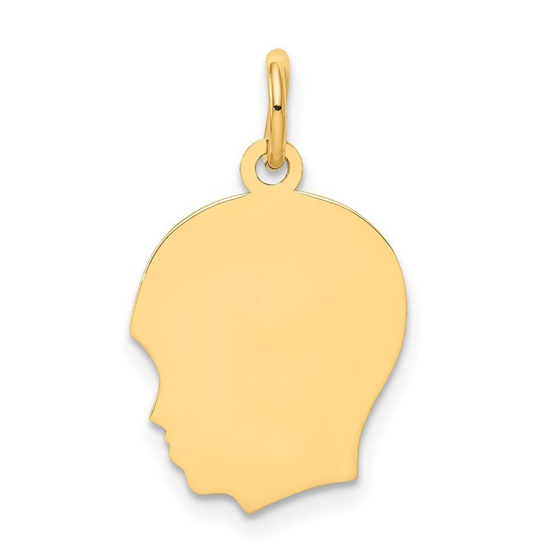 Quality Gold 14k Plain Medium .035 Gauge Facing Left Engravable Boy Head Charm