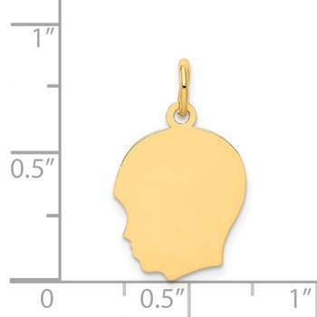 14k Plain Medium .035 Gauge Facing Left Engravable Boy Head Charm