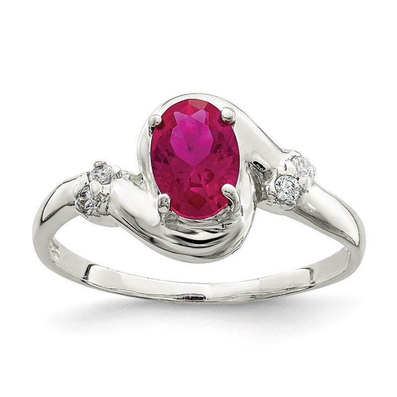 Quality Gold Sterling Silver Red Oval CZ Ring